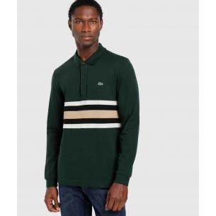 Polo Lacoste colorblock verde